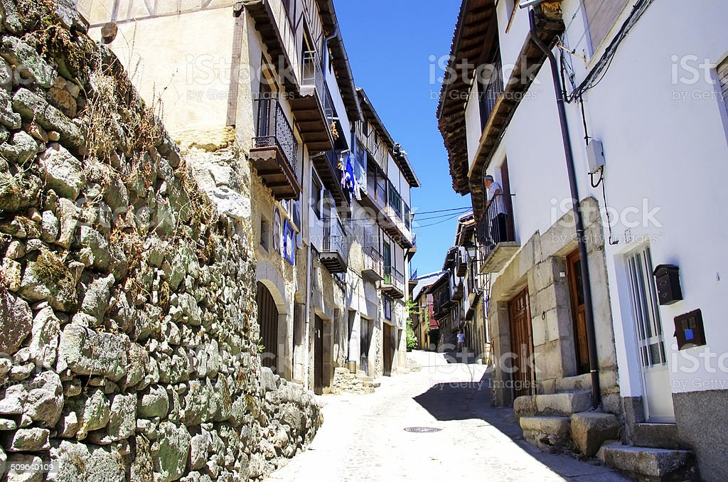 Typical street in Mogarraz village, Salamanca. stock photo