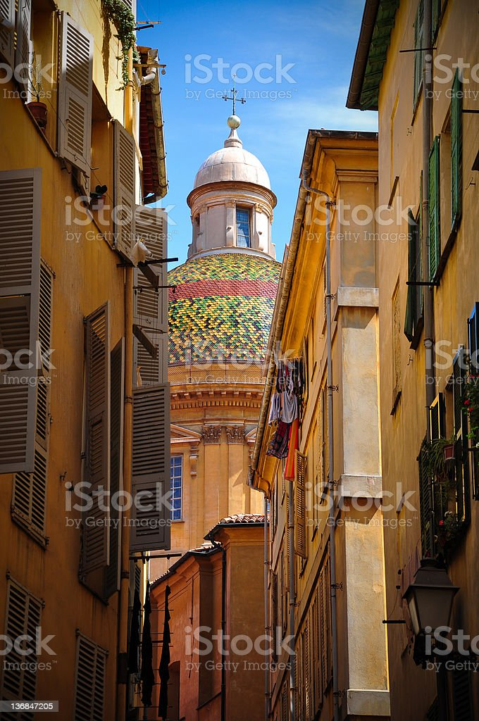 Typical street in Nice, France royalty-free stock photo