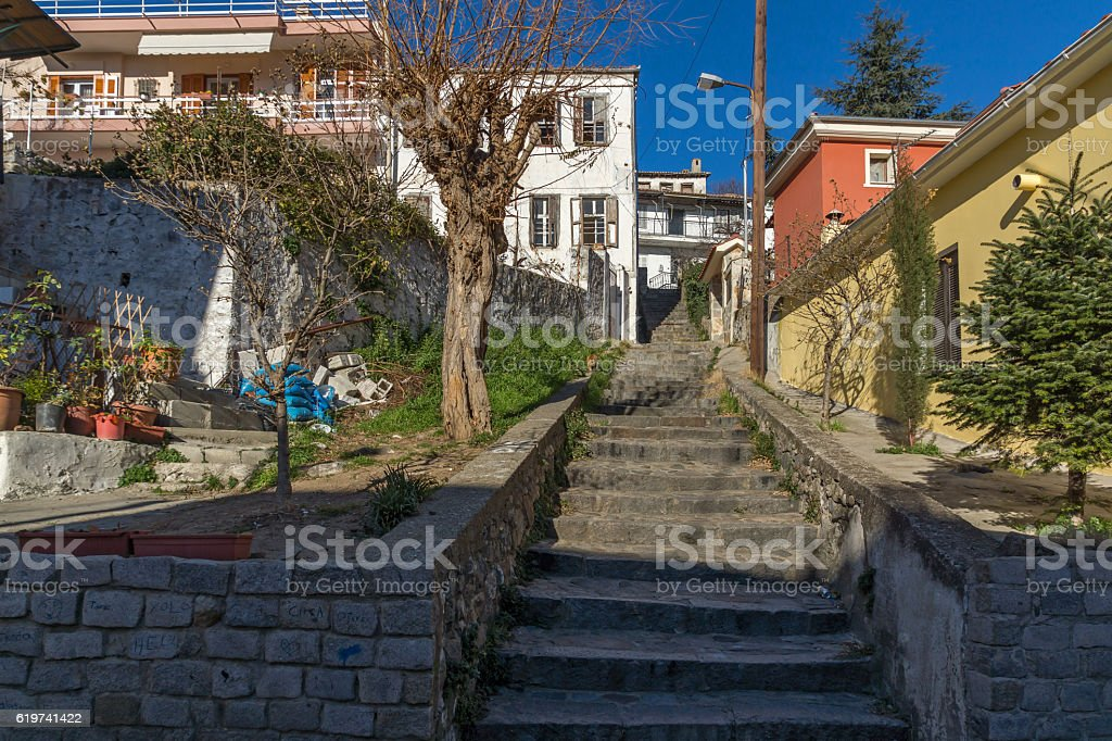 Typical Street in old town of Xanthi, Greece stock photo