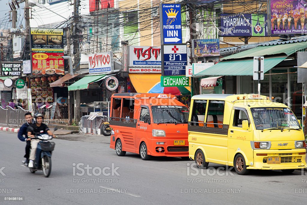 Typical street in Phuket stock photo