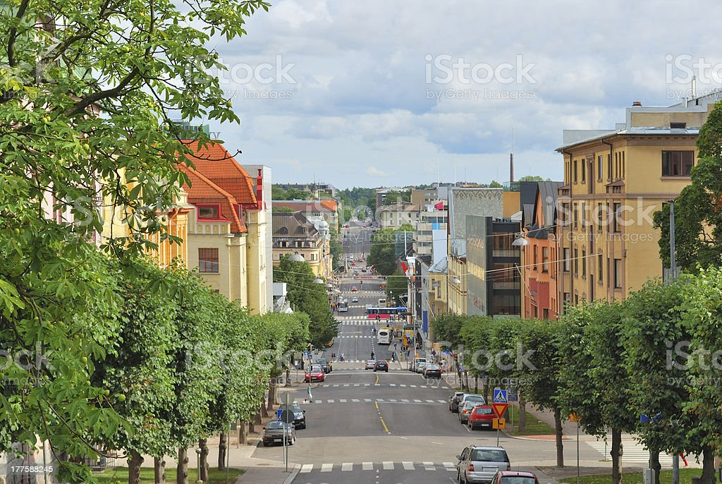 A typical street in Turku, Finland stock photo