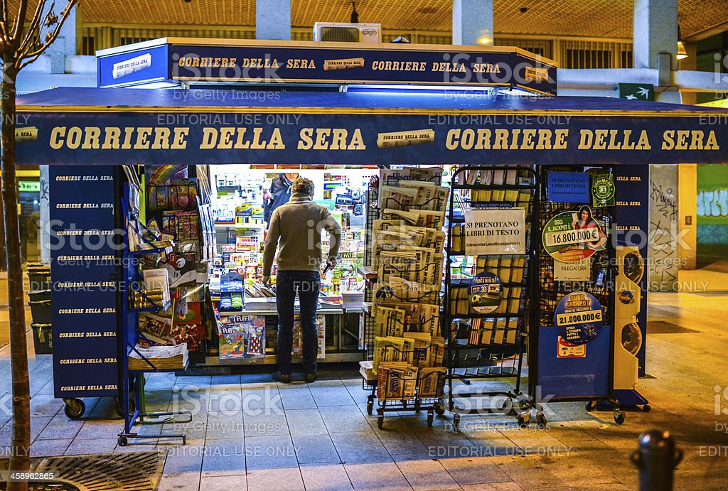 Typical Street News Stand in Milan, Italy stock photo