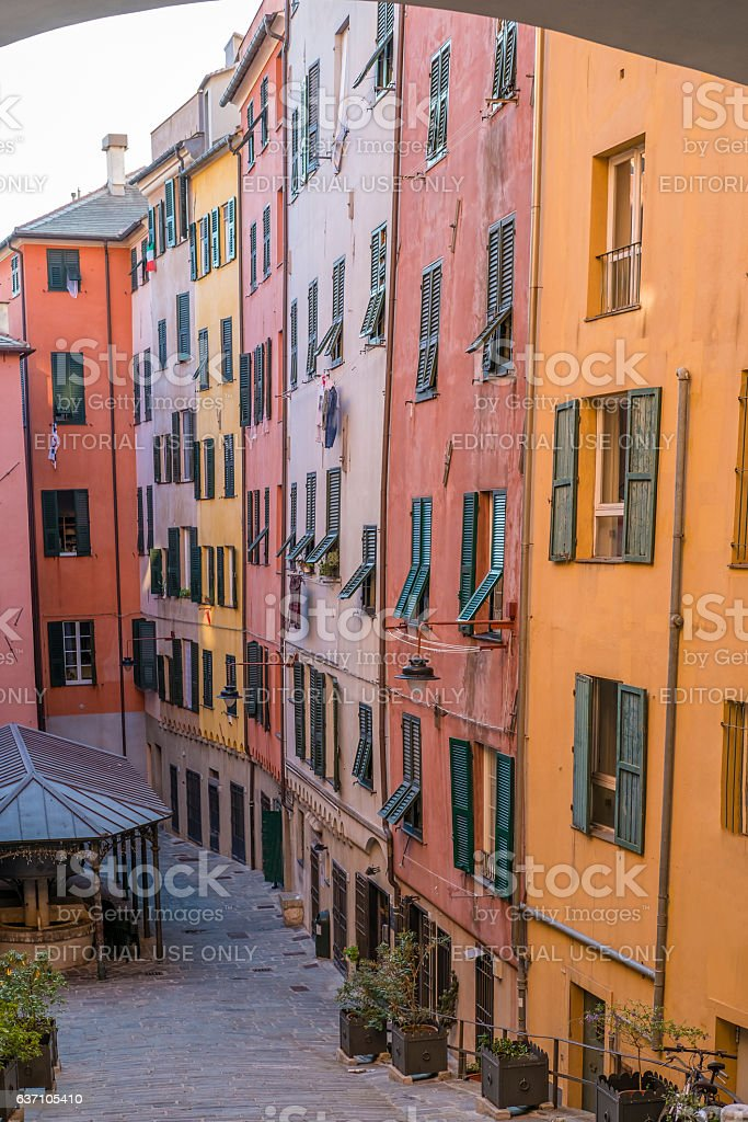 Typical street of Genoa stock photo