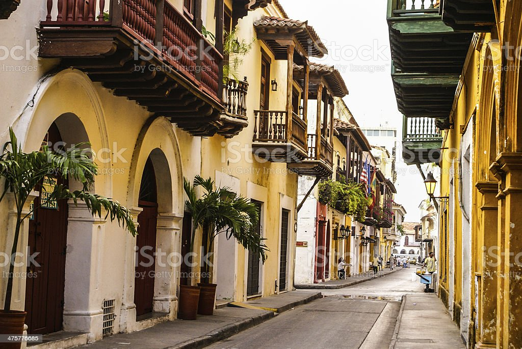 Typical street scene in Cartagena stock photo