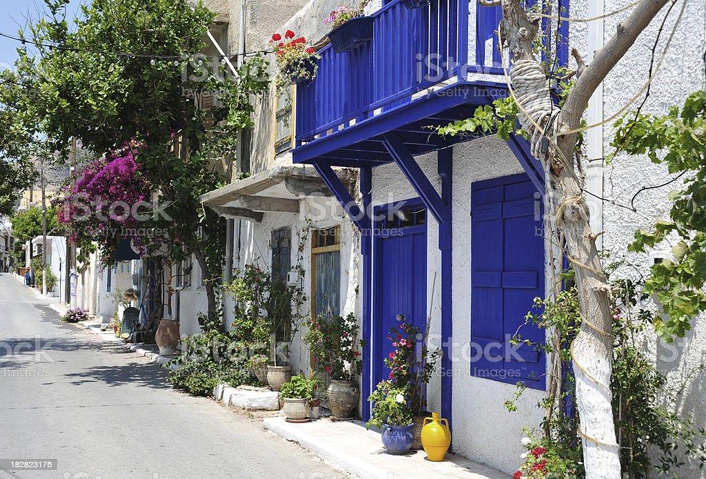Typical street scene in Mirtos, Crete, Greece stock photo