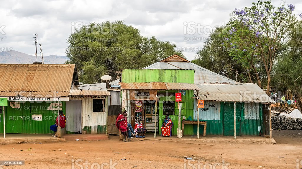 Typical street scene in Namanga, Kenya stock photo