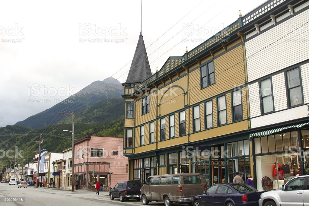 Typical Street Scene In Skagway Alaska stock photo