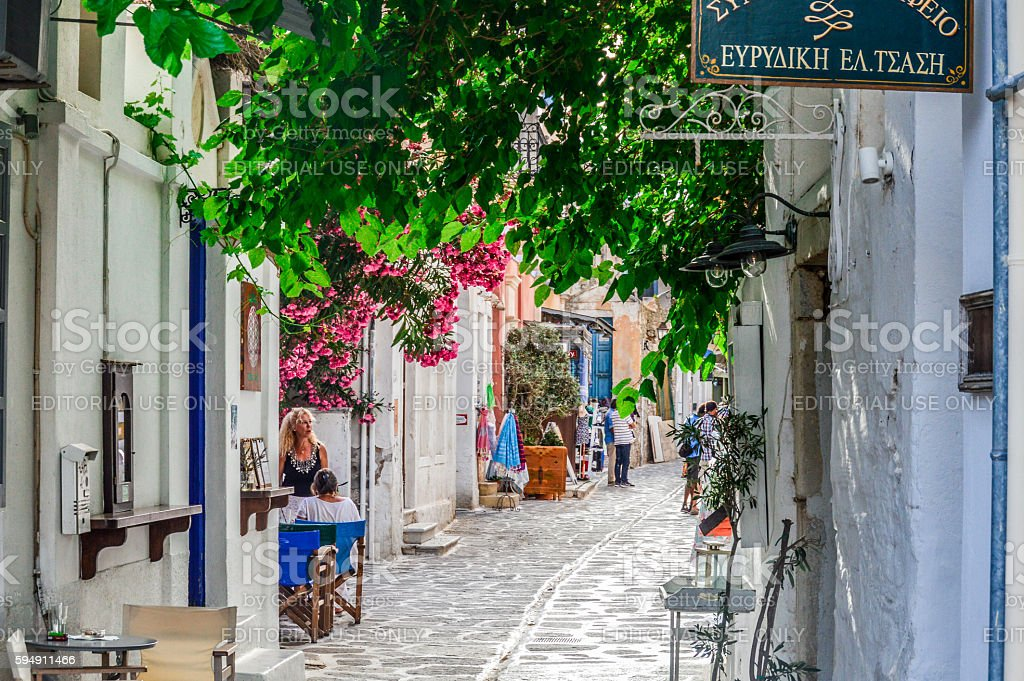 Typical street scene on the Greek Isles stock photo