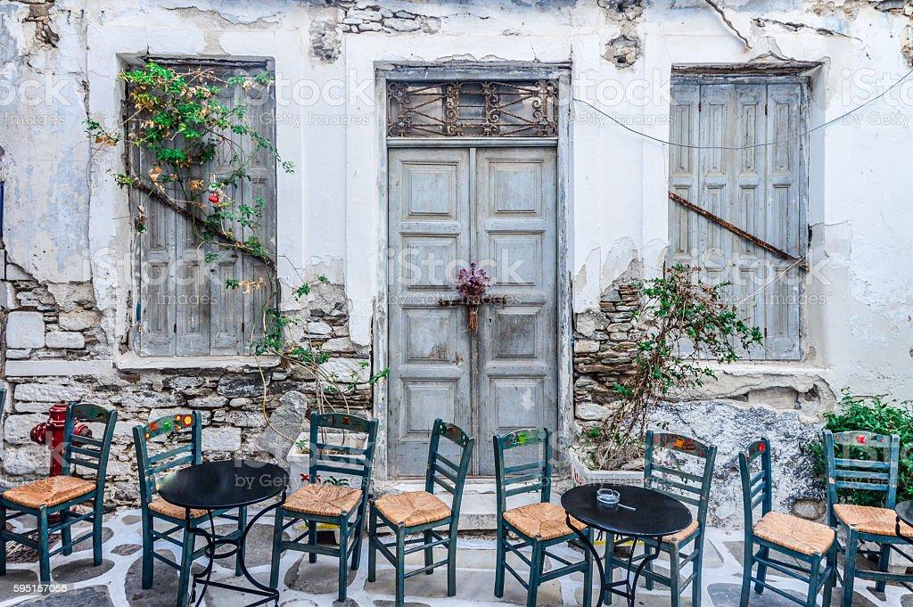 Typical street scene on the Greek Isles stock photo