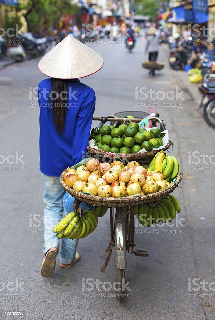 Typical street vendor in Hanoi stock photo