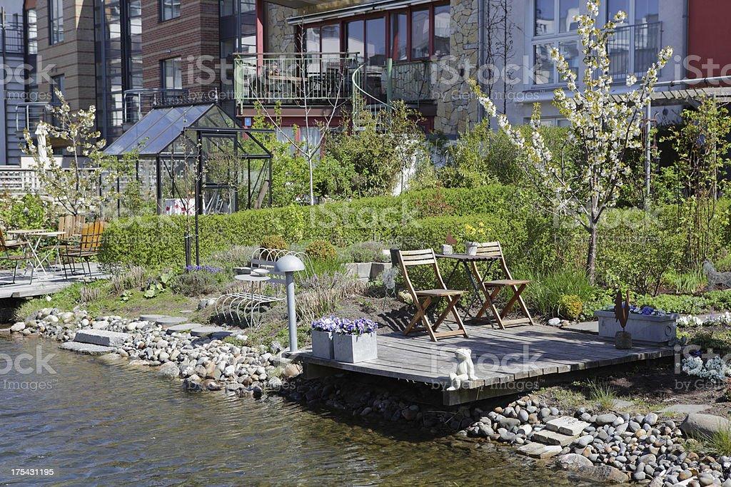 Typical Swedish backyard stock photo