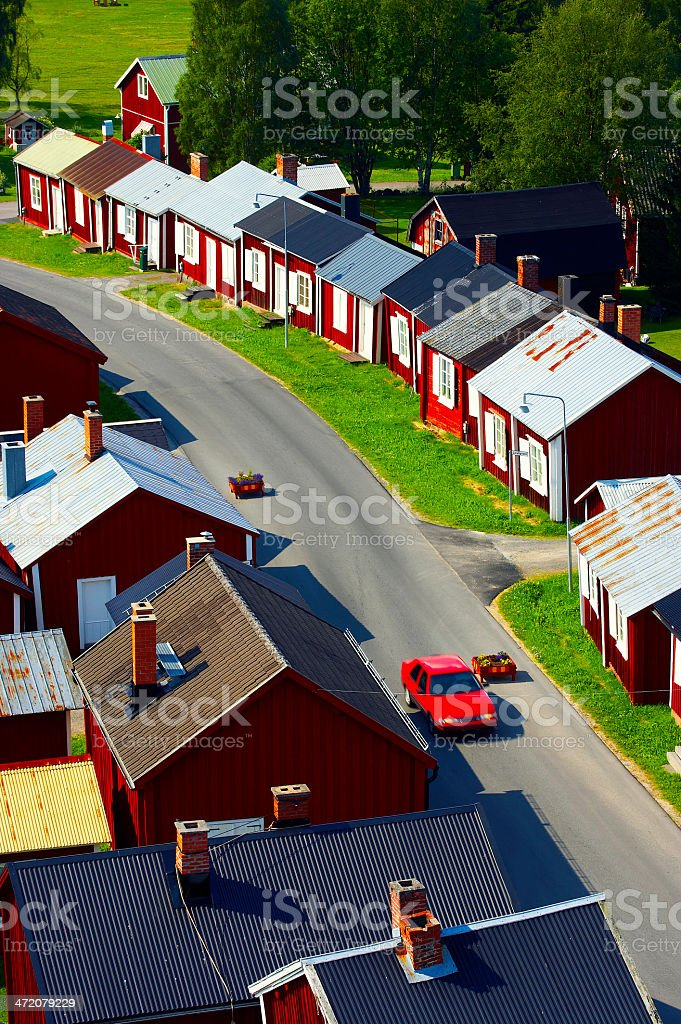 Typical swedish village stock photo