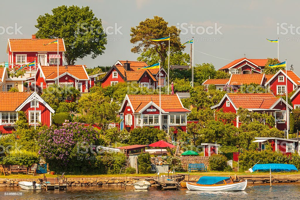 Typical swedish wooden houses in Karlskrona stock photo