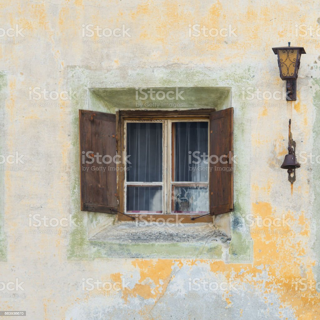 Typical Swiss mountain village window stock photo
