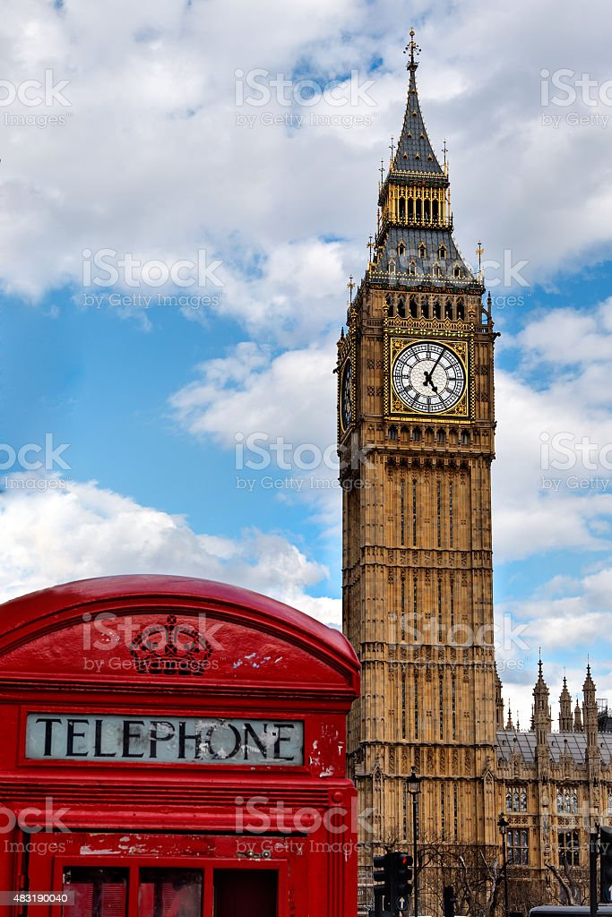 Typical symbols of the United Kingdom stock photo