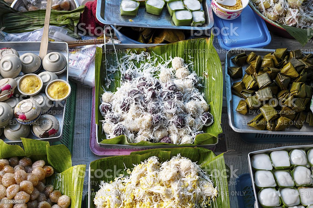 Typical Thai desserts for sale at a market. stock photo
