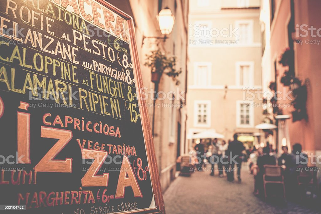 Typical Tourists Restaurant in the Street of Rome stock photo