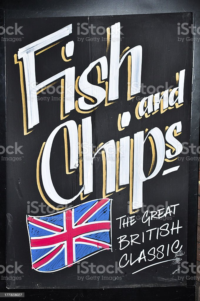 Typical traditional English food, Fish and Chips stock photo