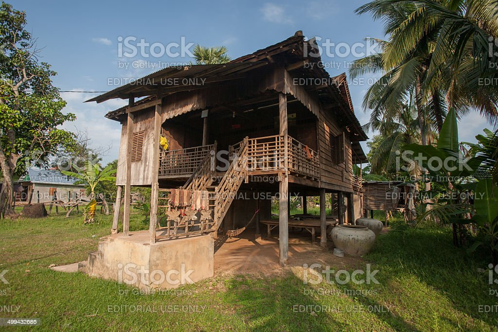 Typical traditional farmhouse in Cambodia stock photo