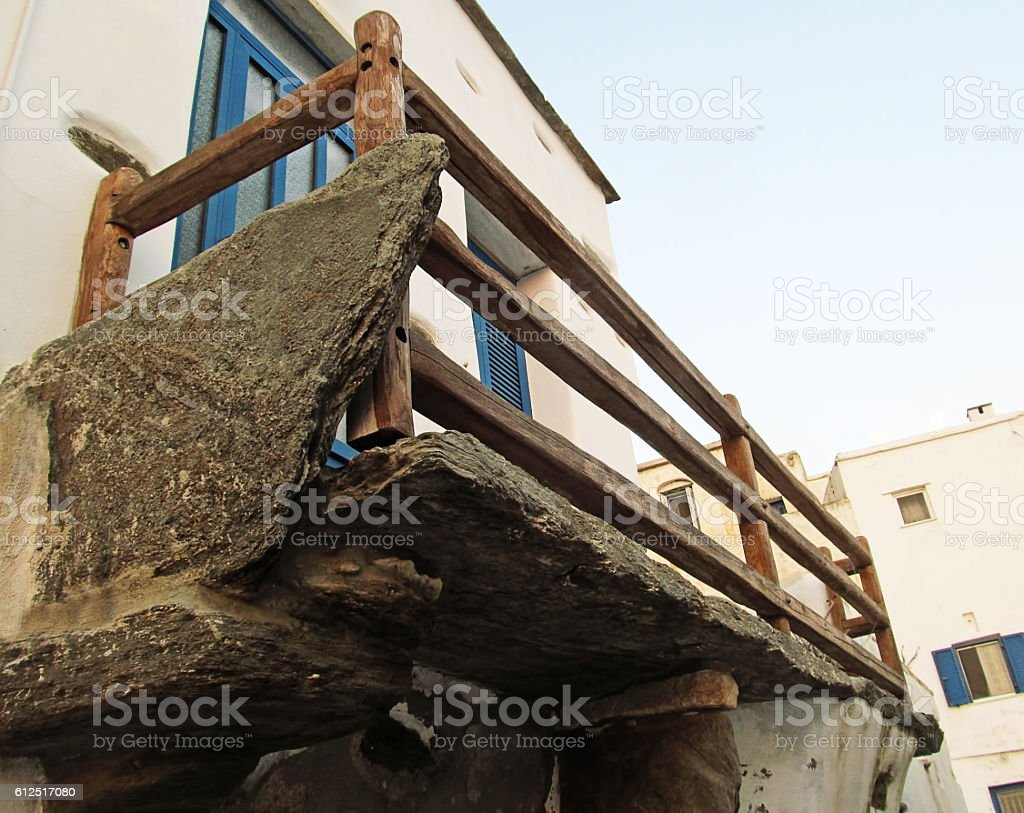typical traditional stone balcony stock photo