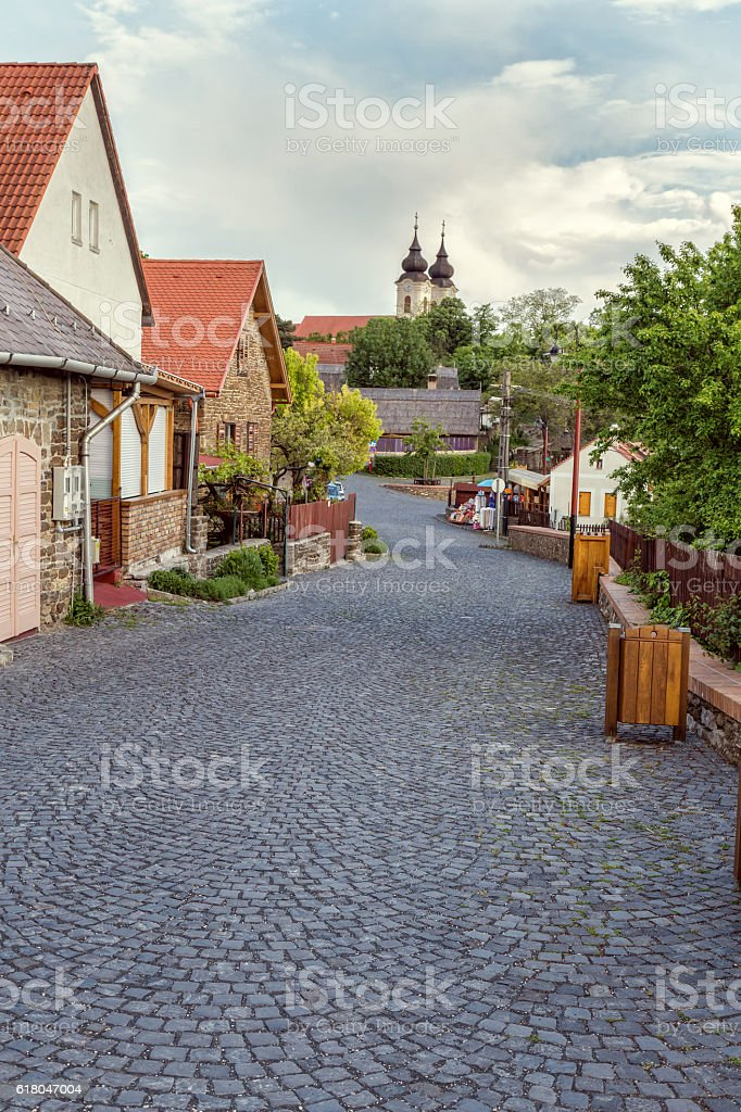 Typical traditional street in the village Tihany stock photo