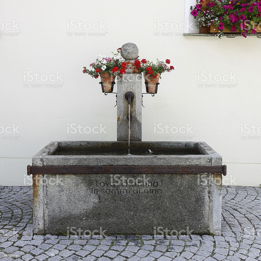 Typical traditional Swiss public fountain. royalty-free stock photo