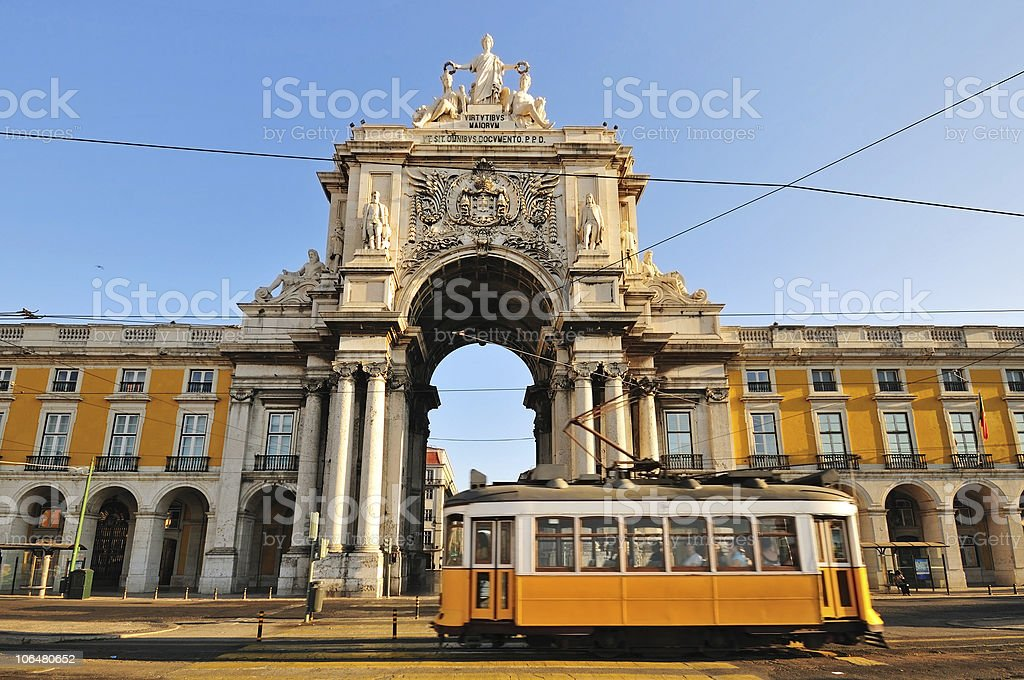 Typical Tram in Commerce Square, Lisbon, Portugal stock photo