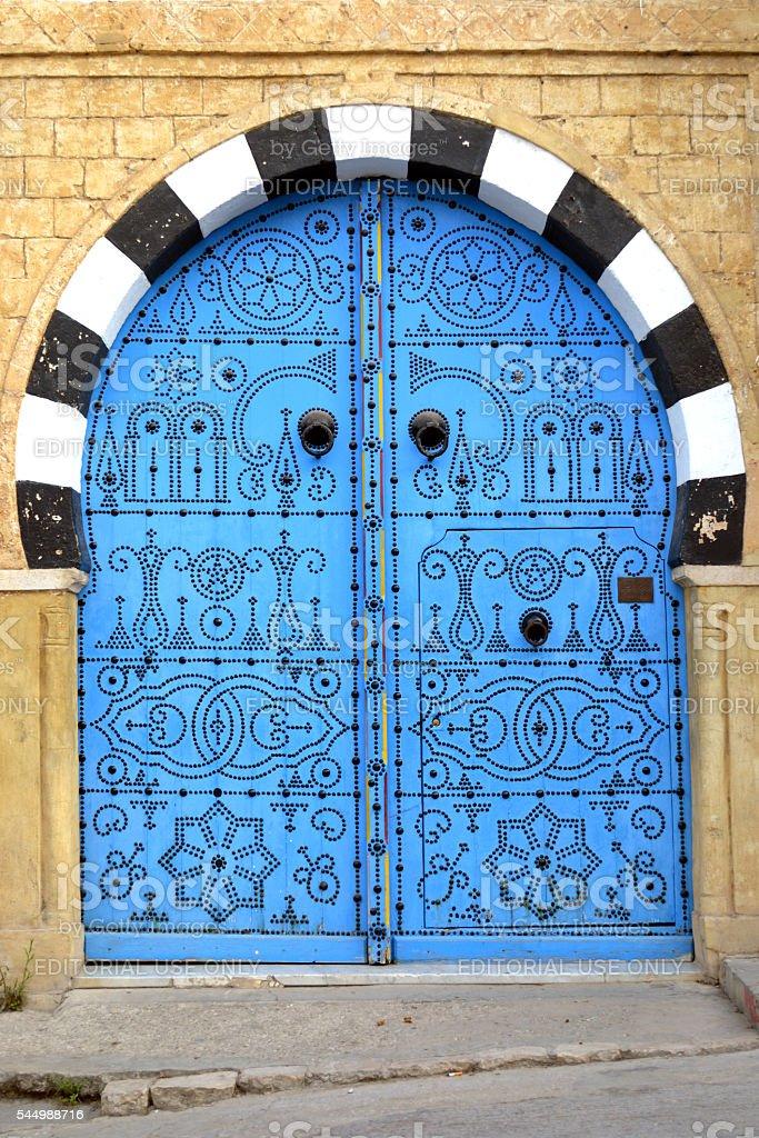 Typical tunisian door... stock photo