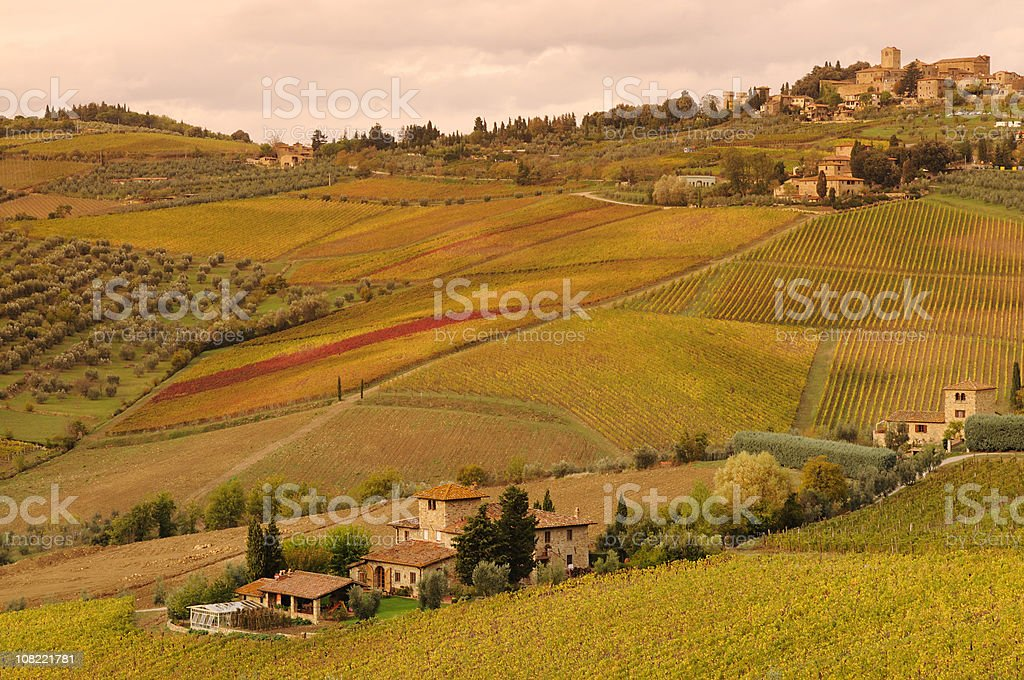 Typical Tuscany Landscape in Chianti Valley stock photo