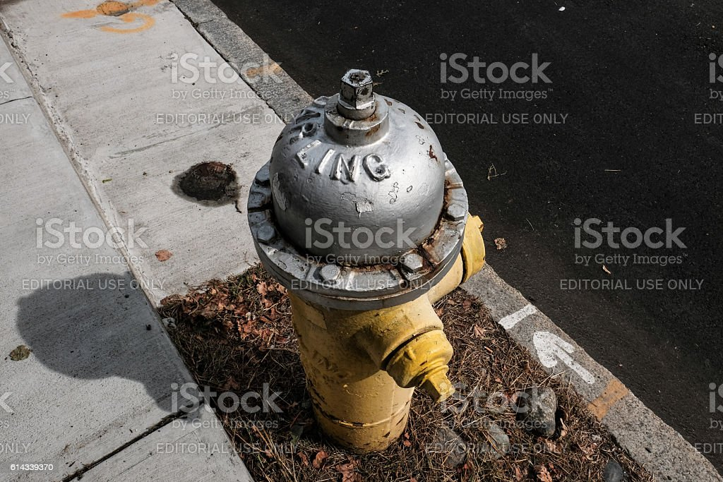 Typical US style fire hydrant seen in Salem, MA stock photo