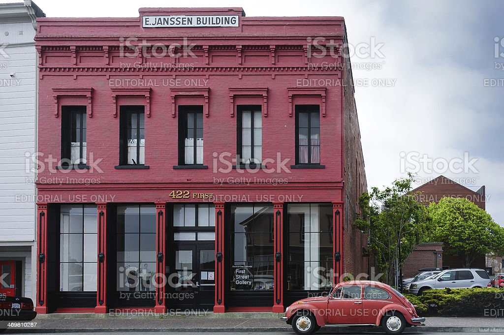 typical Victorian style red building stock photo