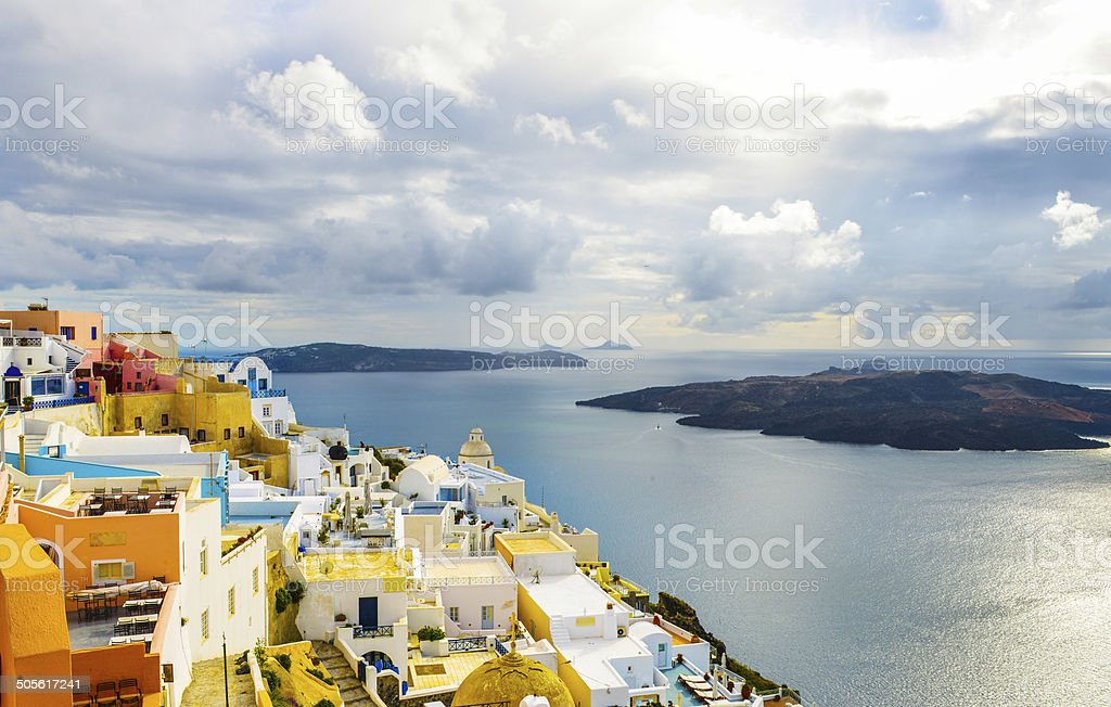 Typical view to the sea and Volcano in Santorini royalty-free stock photo
