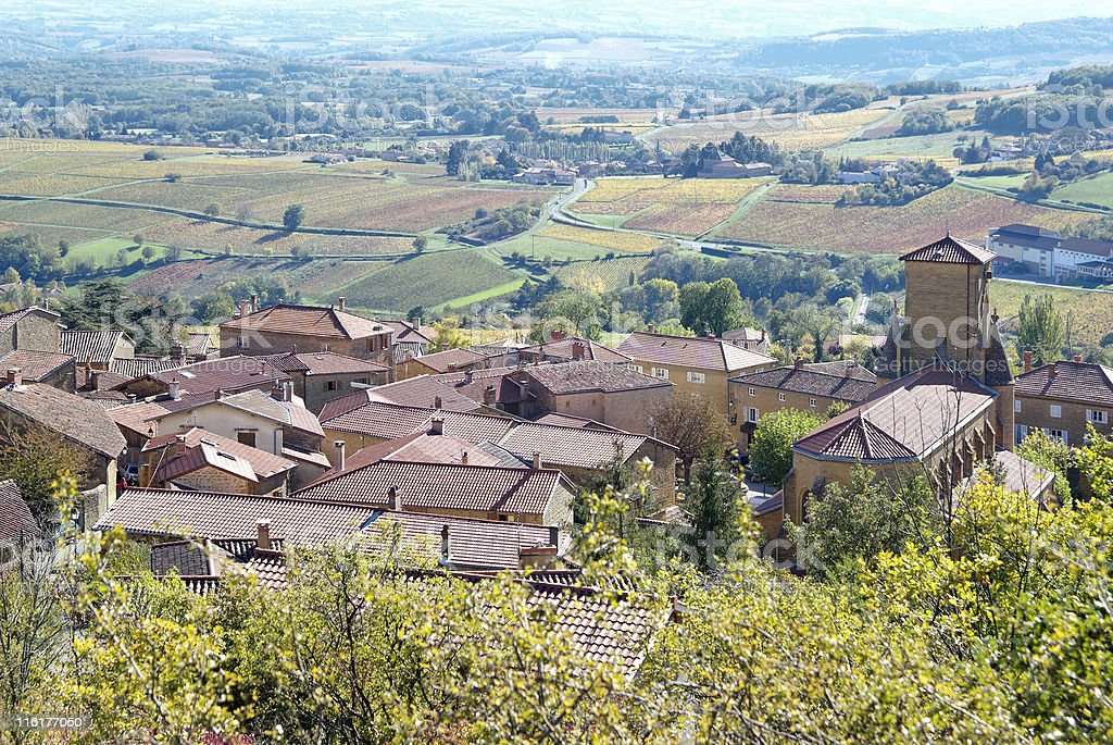 Typical village in Beaujolais stock photo
