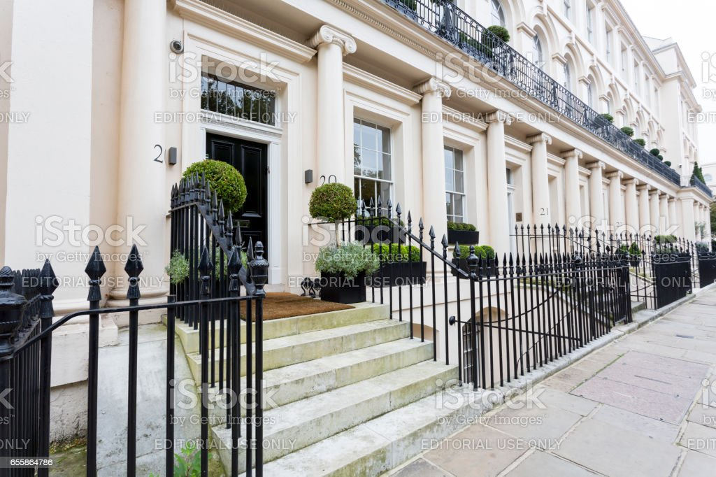 Typical white stuccoed terraced houses in London stock photo