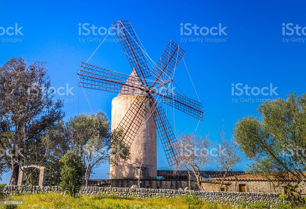 Typical wind mill, Majorca stock photo