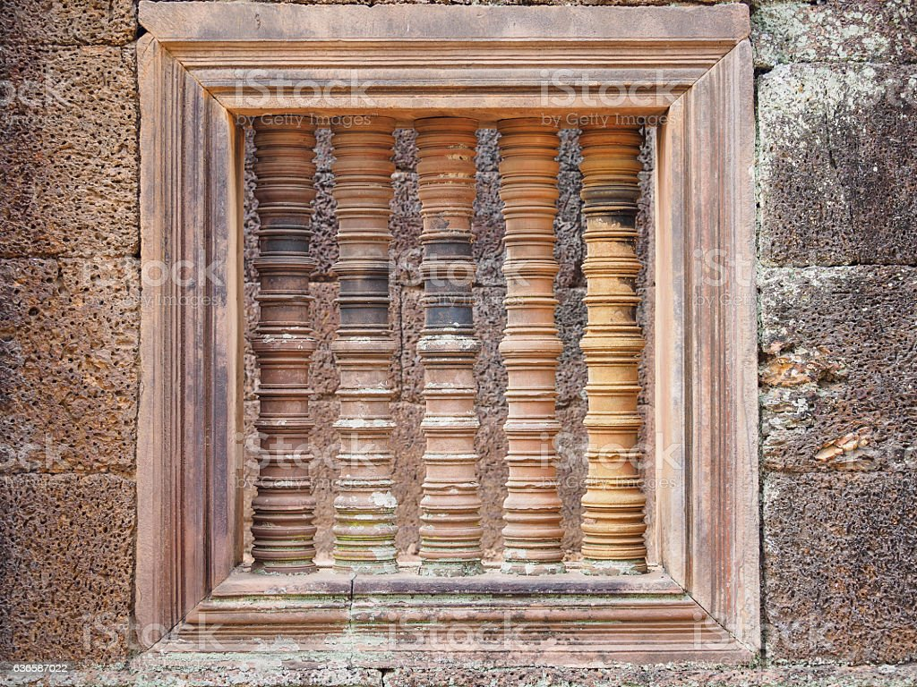 Typical window balusters found at Angkor Wat, Siem Riep stock photo