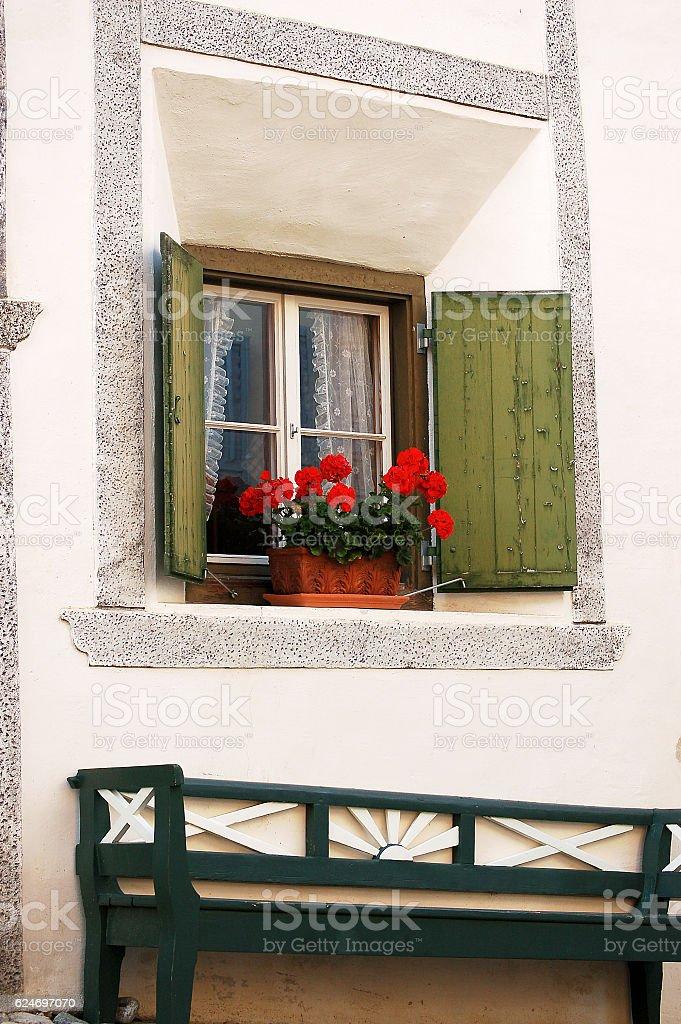 Typical Window - Engadine Switzerland stock photo