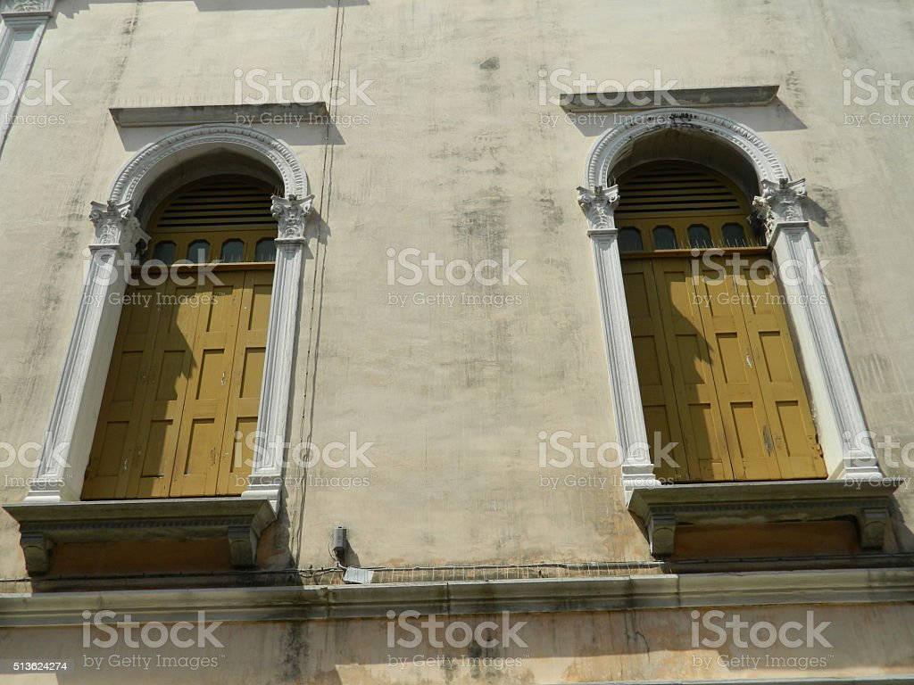Typical windows and walls in Venice stock photo