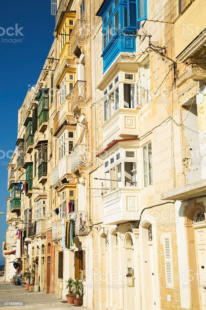 Typical windows  in Valletta-Malta royalty-free stock photo
