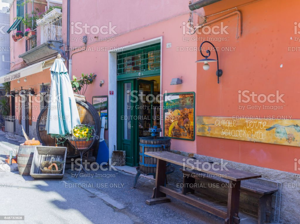 Typical wine shop in the village of Monterosso (Liguria, Italy) stock photo