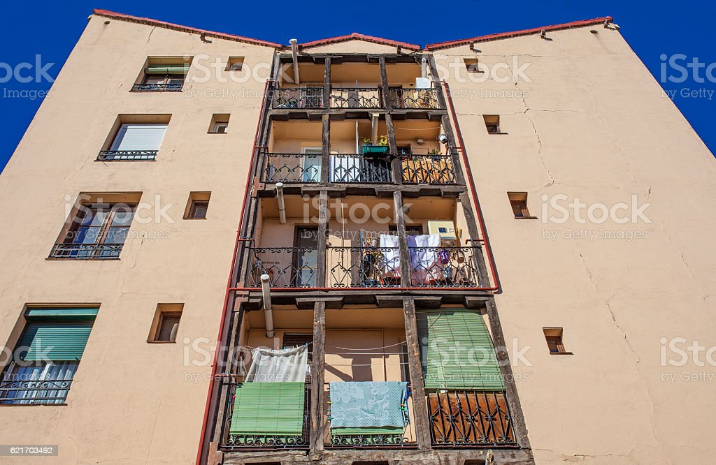 Typical wooden balconies at Madrid Old Town stock photo