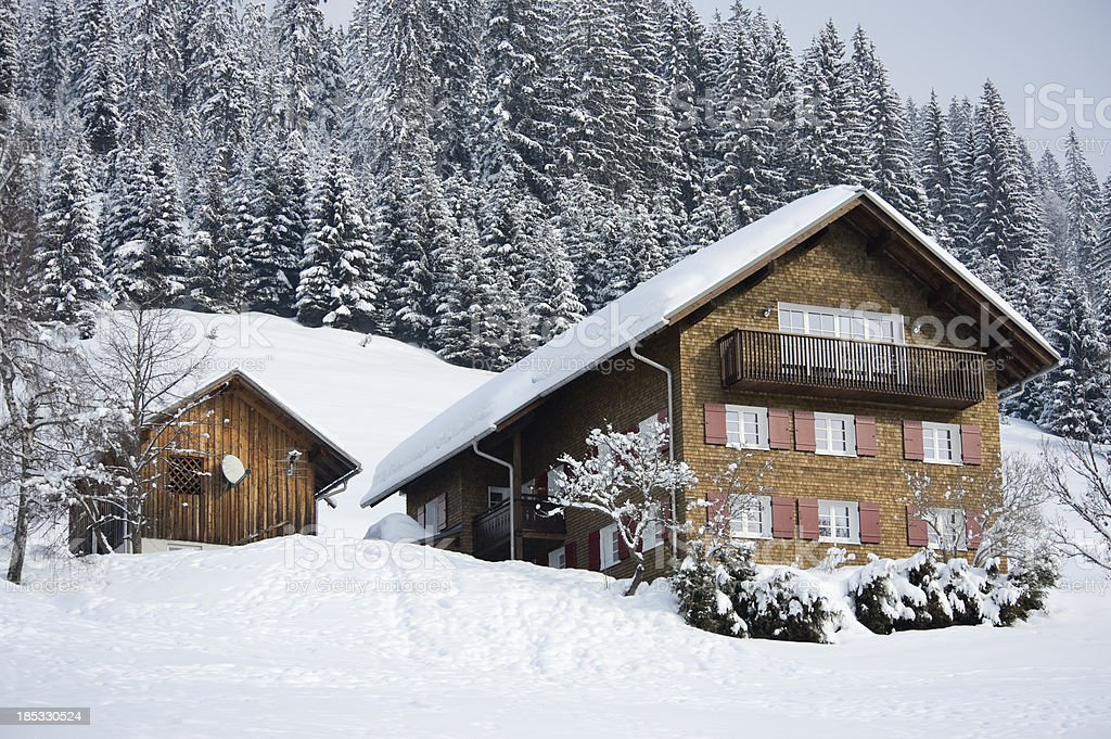 Typical wooden house, Kleinwalsertal, Riezlern, Austria stock photo