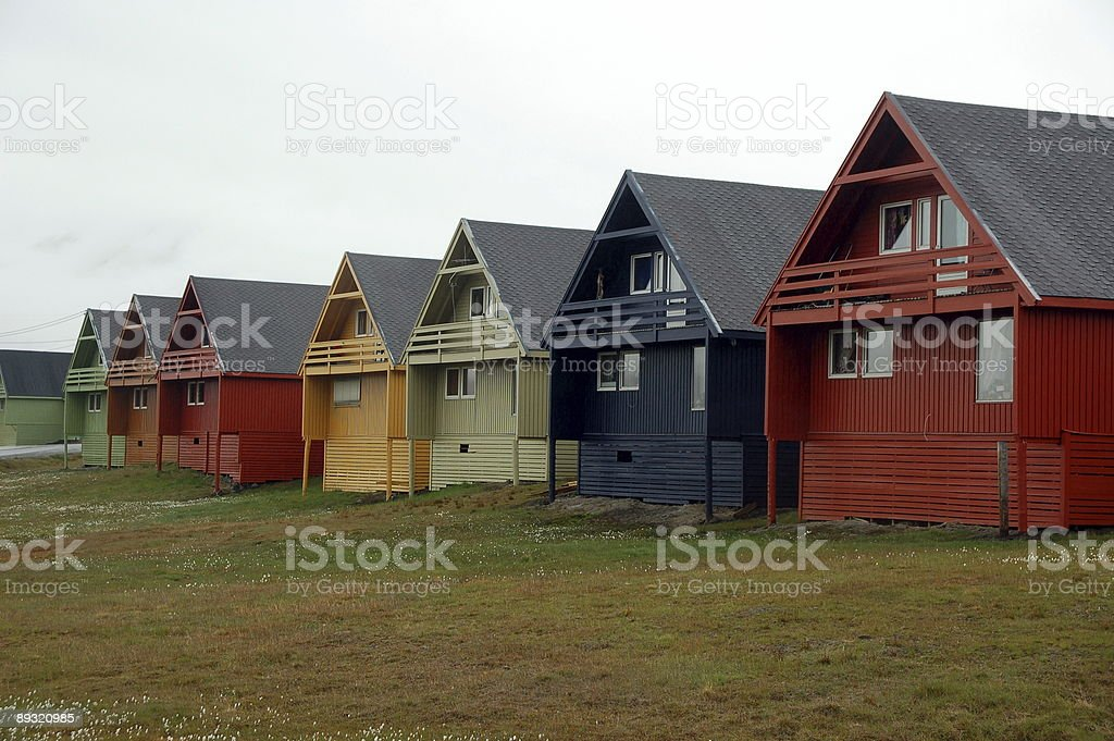 Typical wooden houses at Longyearbyen Svalbard stock photo