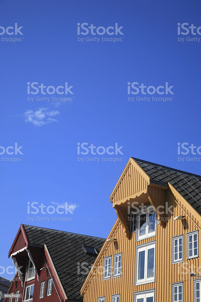 Typical Wooden Houses From Norway royalty-free stock photo