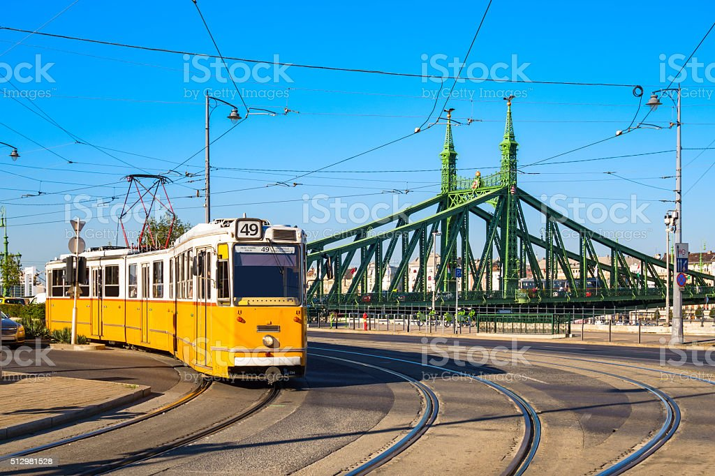 Typical Yellow Tram in Budapest Hungary stock photo