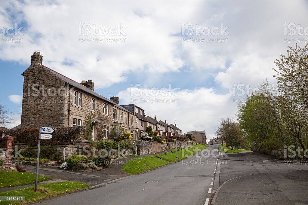 typically british northern england surburban road sunny day Northumberland royalty-free stock photo