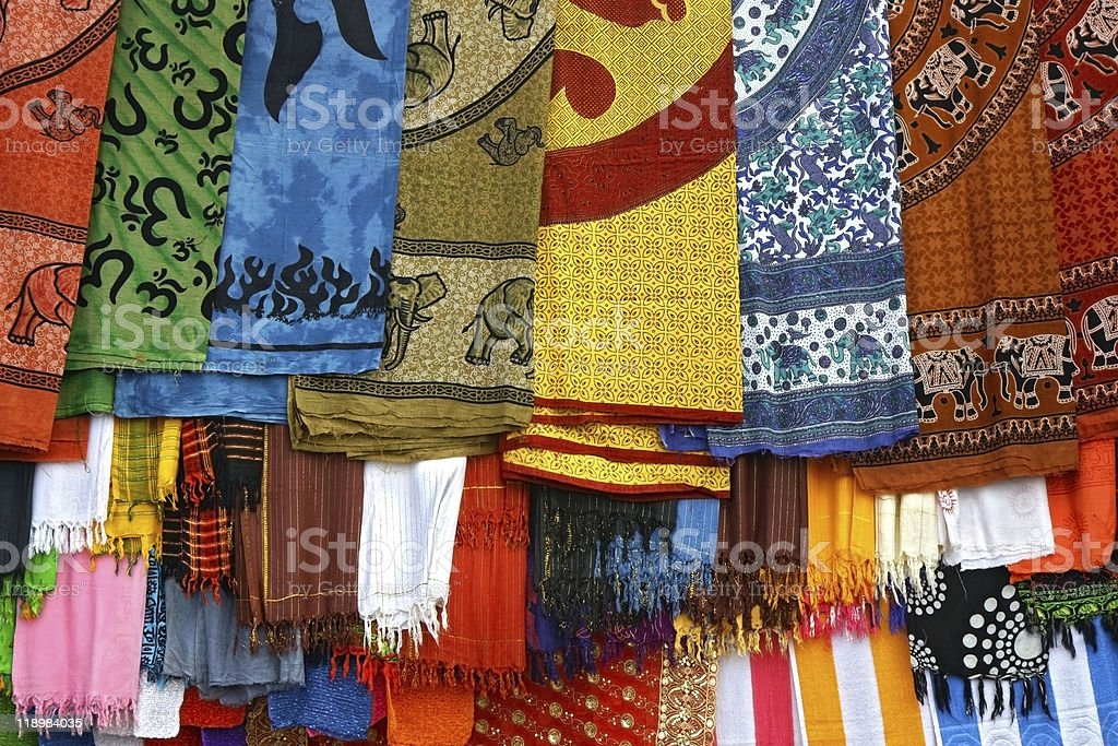 typically colorfull indian fabrics royalty-free stock photo