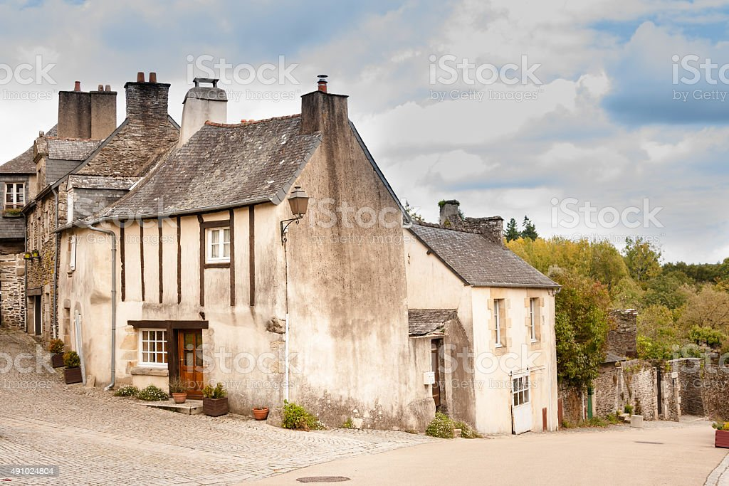 typically crossroads in summer french breton medieval  stone village stock photo