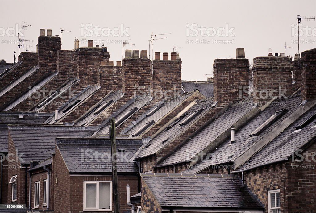 Typically English rooftops of terraced houses stock photo
