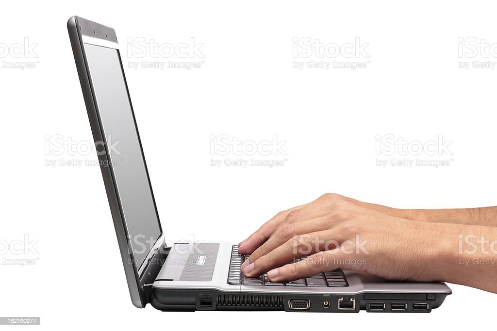 Typing And Laptop Isolated On White royalty-free stock photo